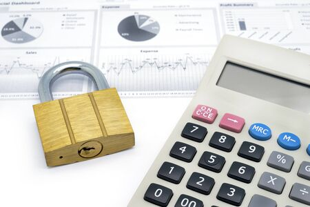 calculator and master key isolated on white background
