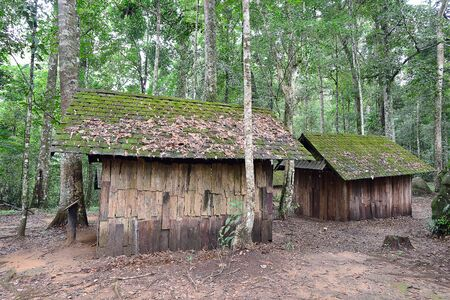 Small cottages at famous museum of political military school, Phu Hin Rong Kla National Park, Phetchabun province, Thailand Stock Photo