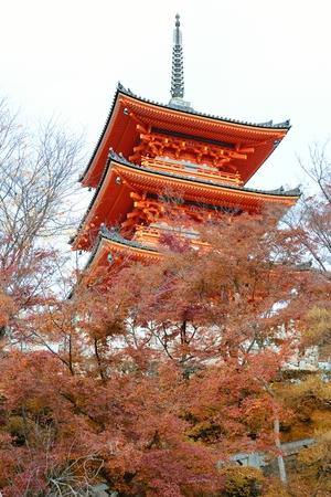 Kiyomizu-dera temple in autumn, Kyoto, Japan Stock Photo