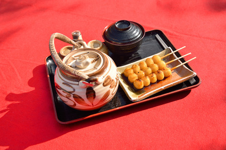Mitarashi Dango, traditional Japanese dessert, focused on Dango