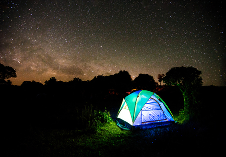 Camping tent under night sky stars with milky way background Stock Photo