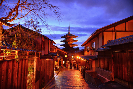 Yasaka Pagoda in twilight time at alley of Japanese old town, Higashiyama