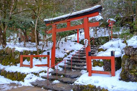 The entrance gate in winter snow at Kibune shrine, Shiga prefecture