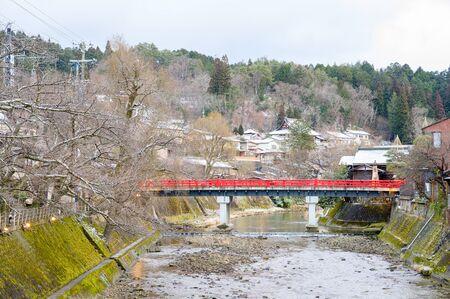 Nakabashi Bridge in Takayama, Hida region, Gifu prefecture, Japan
