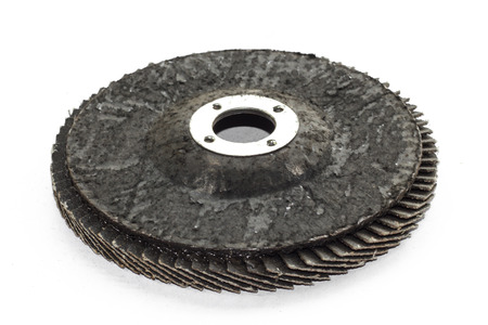 objected: Special angle grinder sander discs for grinding and cutting isolated on a white background  Construction industry tools  Stock Photo