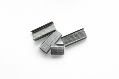 successively: staples stack isolated on a white background