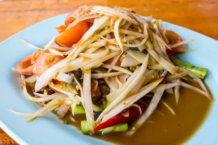 dialectic: thai papaya salad hot and spicy mixed from variety of vegetable Stock Photo