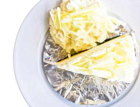 delicious white cake on white background Stock Photo - 29037830