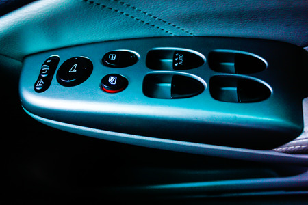 gearshift: close up of the car gearshift and control panel Stock Photo