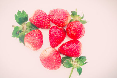 strawberries close up on white background Stock Photo