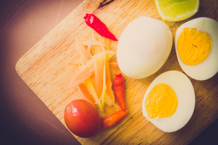 boiled egg on wooden background Stock Photo