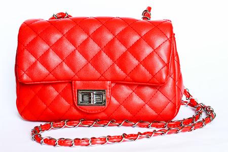 赤い女性の袋は白い背景に隔離した。 写真素材