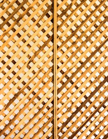 latticed: wooden lattice. Isolated on white.