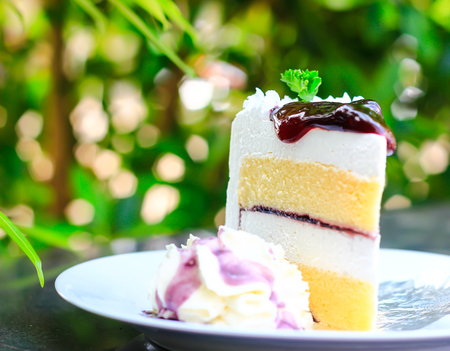 cheese cake with blue berry on top Stock Photo