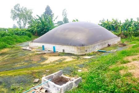 Biogasvijver Stockfoto