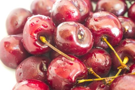 Cherry basket  Sweet cherry background cherry with leaf Stock Photo