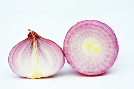 pink onion and fresh parsley isolated on white background Stock Photo - 12369635