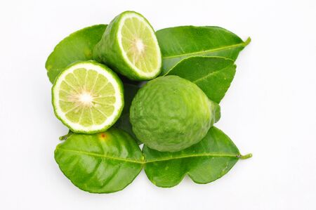 Three leech lime fruits isolated on white Banque d'images