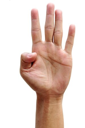men hand make thumbs up isolated over white Stock Photo - 12369738