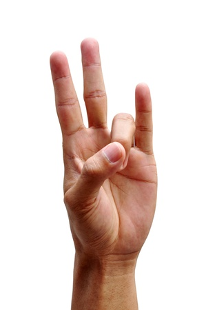 asl sign: Example of how to sign the number 7 in finger Sign Language  Stock Photo