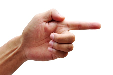 hand of a man with a finger on a white background Stock Photo - 12369734