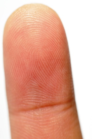 Macro view of a finger print on a human thumb over a white background photo