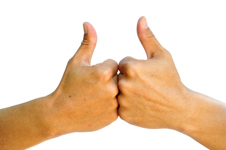 men's hand make thumbs up isolated over white Stock Photo - 13108863