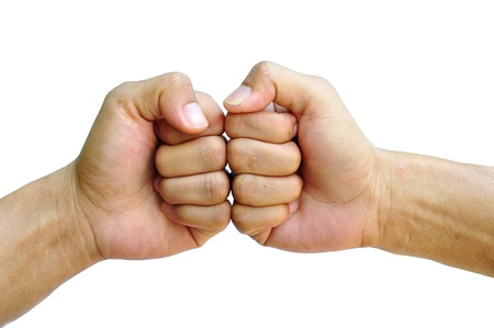 men hand make thumbs up isolated over white Stock Photo - 13108890