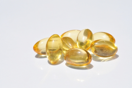 Isolated fish oil capsules photo