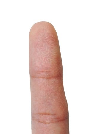 Macro view of a finger on a women thumb over a white background  photo
