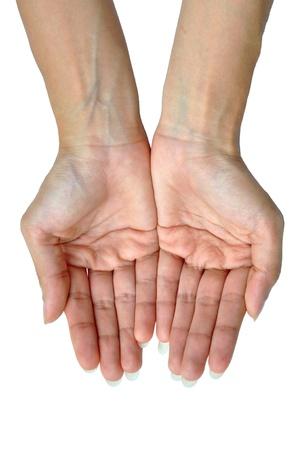 manos sucias: Las manos abiertas de una mujer joven