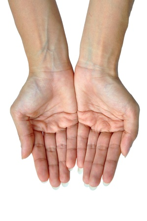 The open hands of a young woman