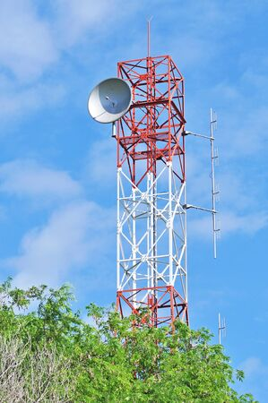 Communications tower with a beautiful blue sky Stock Photo - 14125696