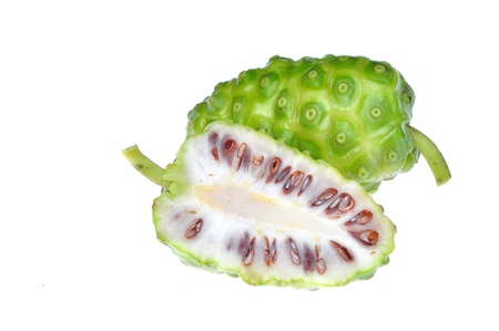 noni: noni Indian Mulberry fruit on white background