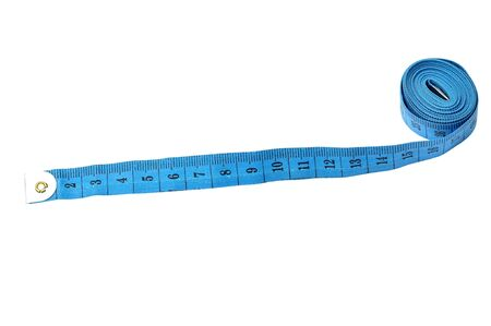 tapeline: Blue tape-line isolated on white background Stock Photo