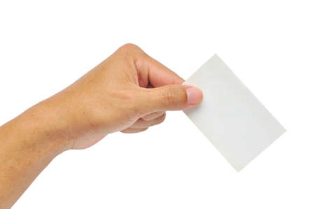 holding business card: Close-up of an empty business card in a man hand isolated on white Stock Photo