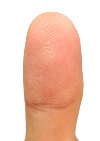 Macro view of a finger on a human thumb over a white background Stock Photo - 14304071