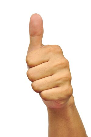 thumbs up man: Thumbs up sign isolated on white. Stock Photo