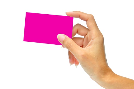 Close-up of Pink card in a woman's hand isolated on white photo