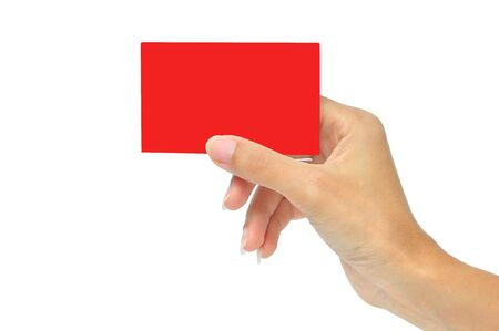 Close-up of Red card in a woman's hand isolated on white Stock Photo - 14544483