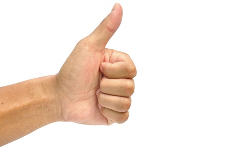 men's hand make thumbs up isolated over white Stock Photo - 14544500