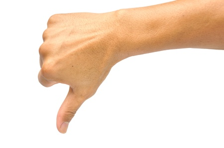 Image of human hand showing thumb down in isolation  Stock Photo - 14544502