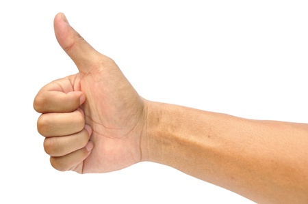 men's hand make thumbs up isolated over white Stock Photo - 14544501