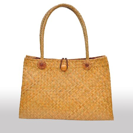 wicker bag isolated on white background photo