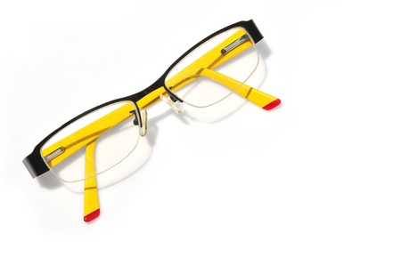 bifocals: Glasses isolated on white, black frame  Stock Photo