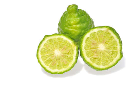 Three leech lime fruits isolated on white  Stock Photo - 14711625
