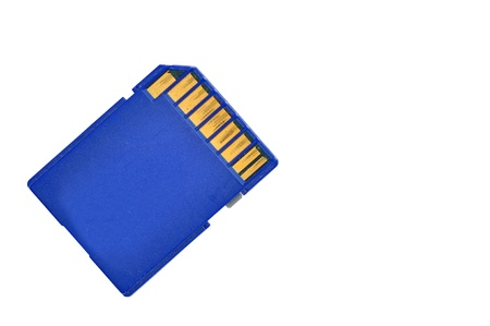 Blue memory SD. card, isolated on white. Stock Photo - 14711576