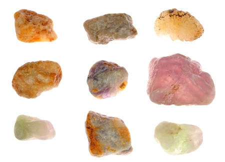 Many minerals on a white background  photo