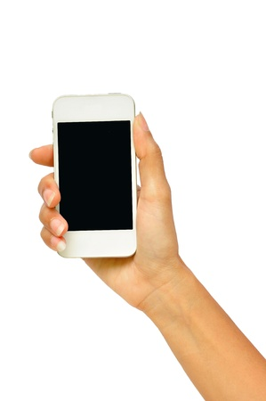 Hand holding mobile smart phone with blank screen  Isolated on white   Stock Photo - 15209036