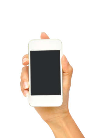 Hand holding mobile smart phone with blank screen. Isolated on white.  Stock Photo - 14978487